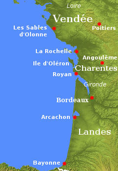 Map Of France Vendee Region.The Atlantic Coast Of France From Vendee To The Pyrenees