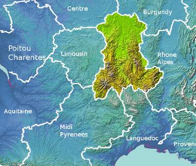 Mountains Of France Map.Auvergne Information And Tourist Guide France