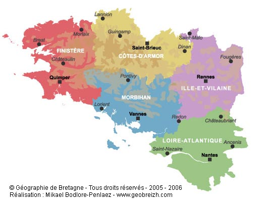 Brittany On Map Of France.Maps Of Brittany
