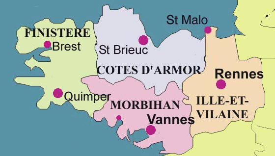 The departments areas and towns of brittany