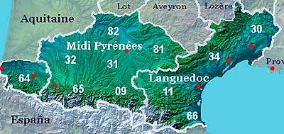 Pyrenees Languedoc map