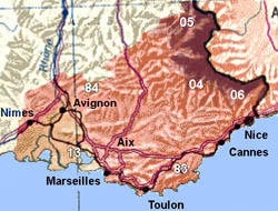 Map Of Provence France With Cities.The Cities Towns And Areas Of Provence