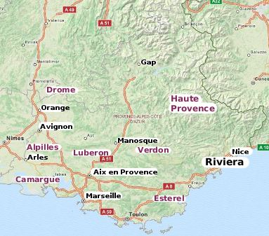 The cities towns and areas of Provence